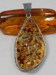 Amber and Sterling Large Pendant