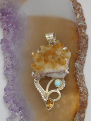Free-form Organic Citrine Quartz Pendant 9 with Opal