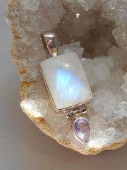 Moonstone and Amethyst Quartz Pendant 3