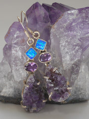 Amethyst Quartz Earring Set 2 with Opal