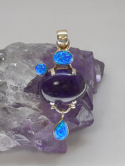 Amethyst Quartz Pendant 11 with Opal