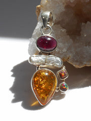 Amber Pendant 10 with Garnet, Opal and Pearl