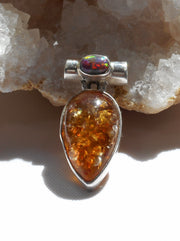 Amber Pendant 13 with Fire Opal