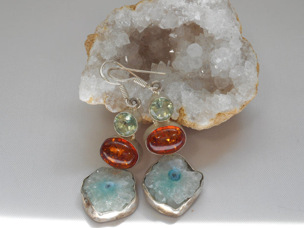 Amber Earring Set 3 with Amethyst and Solar Quartz