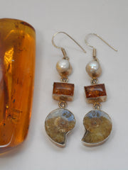 Amber Earring Set 4 with Ammonite Fossil and Pearl