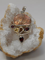 Native Copper Pendant 5 with Garnet and Citrine Quartz
