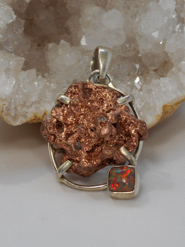Native Copper Pendant 7 with Fire Opal