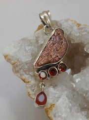 Native Copper Pendant 8 with Garnets