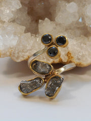 Natural Meteorite Stone Ring 2 with Onyx