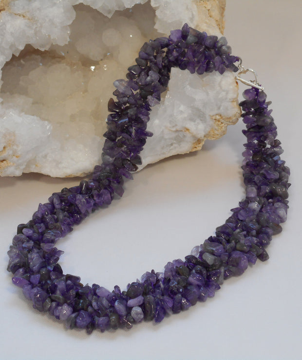 Beaded Purple Amethyst Quartz Necklace
