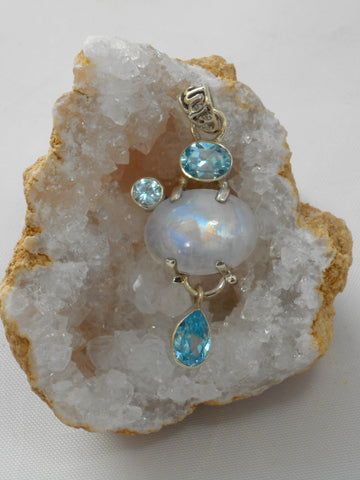 Moonstone Pendant 3 with Blue Topaz