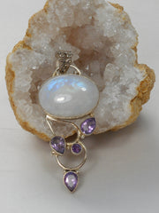 Moonstone and Amethyst Quartz Pendant 2