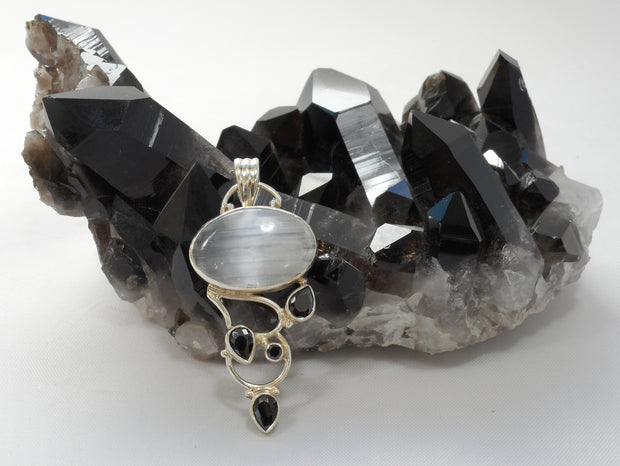 Black Onyx and Selenite Pendant 1