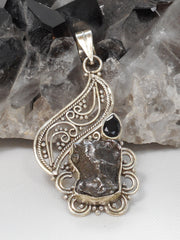 Meteorite and Sterling Pendant 3 with Onyx