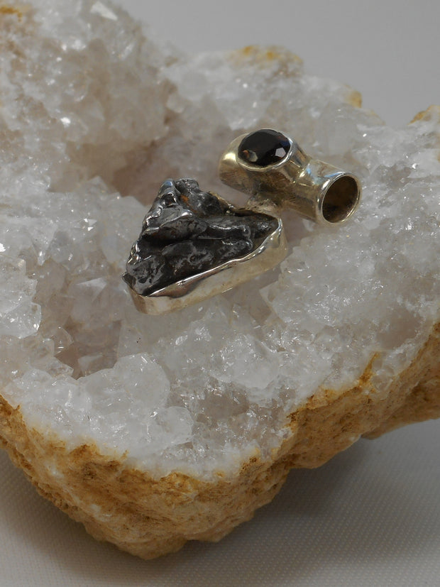 Natural Meteorite Stone Pendant 7 with Smoky Topaz