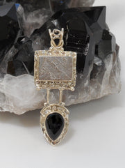 Meteorite and Sterling Pendant 2 with Onyx