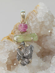 Natural Meteorite Stone Pendant 8 with Tourmaline