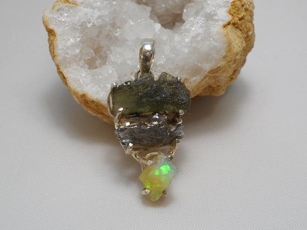 Natural Meteorite Stone Pendant 6 with Ethiopian Opal and Moldavite