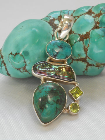 Tibetan Turquoise Pendant 8 with Peridot and Pearl