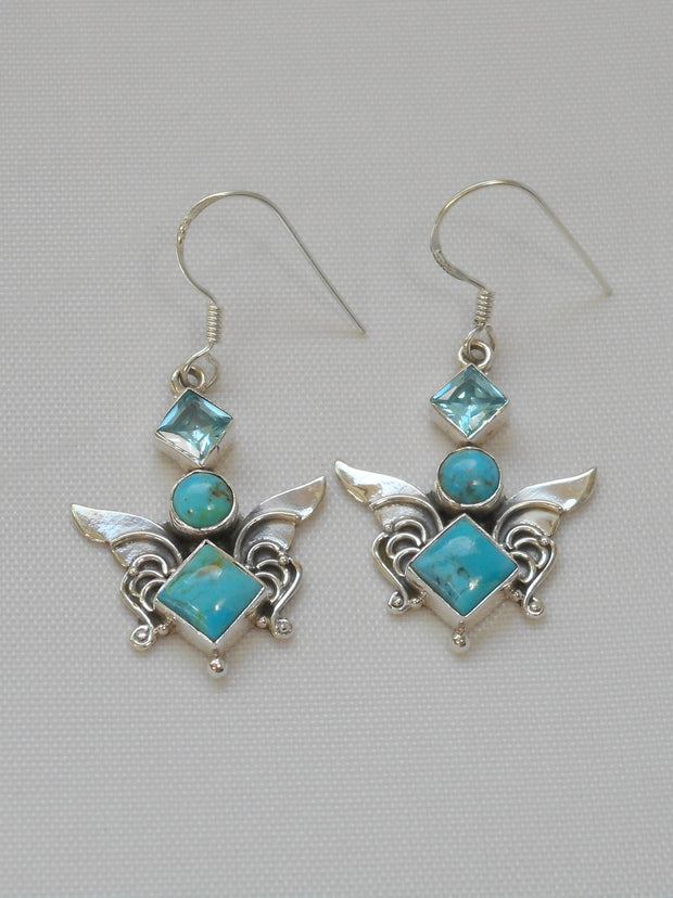 Artisan Turquoise Earring Set 1 with Blue Topaz