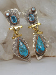 *Copper Turquoise Blue and Sterling Earring Set with Blue Topaz