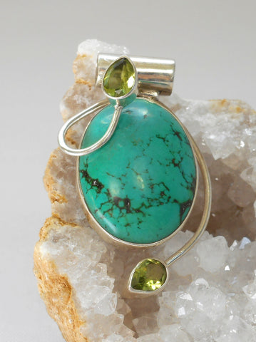 Tibetan Turquoise Pendant 10 with Citrine Quartz
