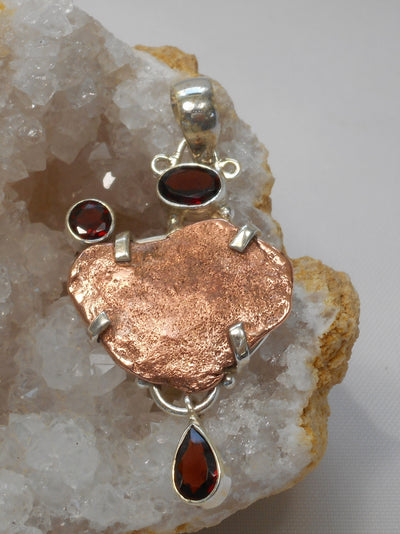 Native Copper Pendant 9 with Garnets