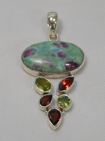 Ruby in Fuchsite Pendant 4 with Garnets and Citrine Quartz