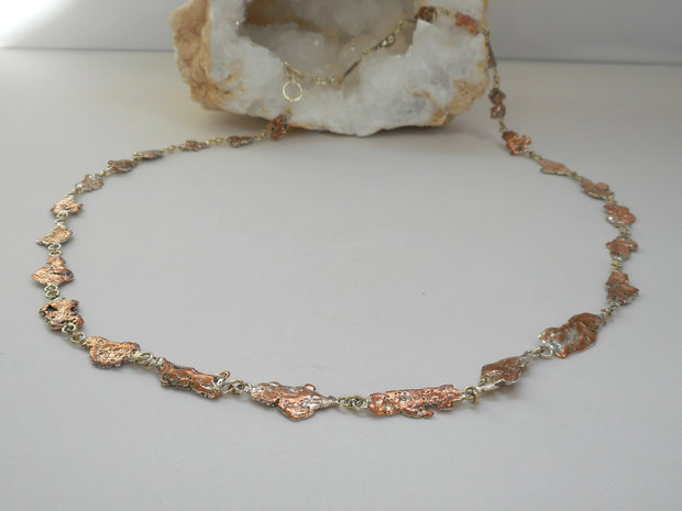 Copper/Sterling Splash Necklace 1
