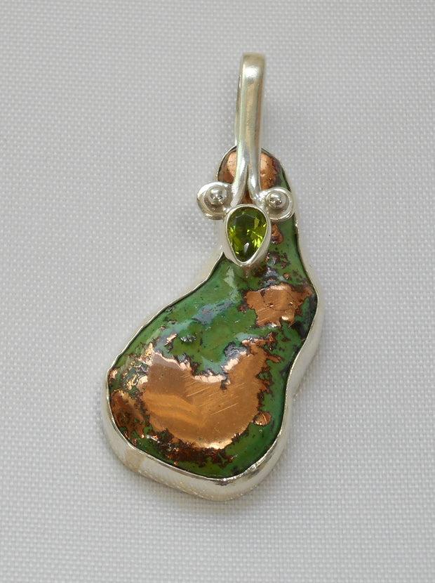 Native Copper Artisan Pendant 2 with Peridot