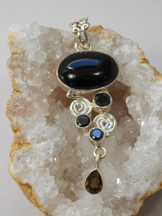 Black Onyx Pendant 1 with Smoky Topaz