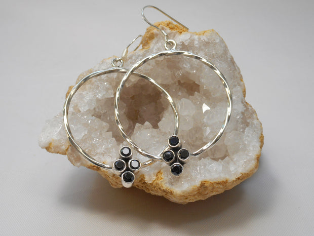 Black Onyx Cluster Sterling Hoop Earring Set 1