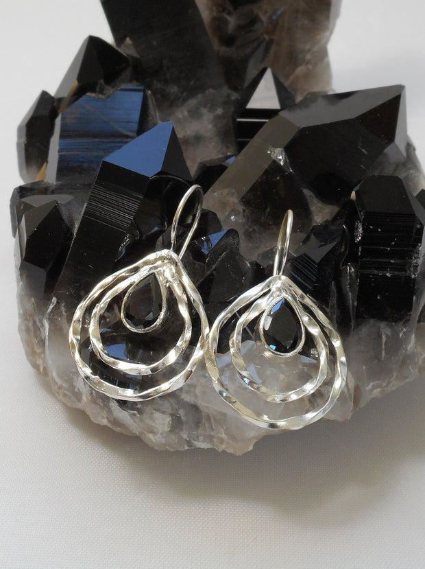 Black Onyx and Sterling Hoop Earring Set 2