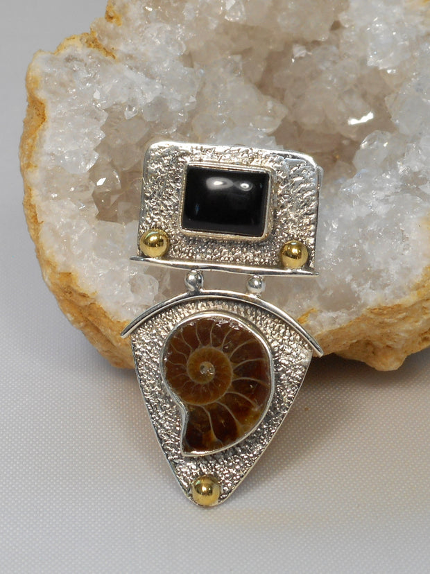 Ammonite and Sterling Fossil Pendant 3 with Onyx