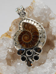 Ammonite and Sterling Fossil Pendant 2 with Onyx and Topaz