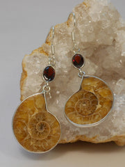 Ammonite Fossil and Sterling Earring Set 2 with Garnets