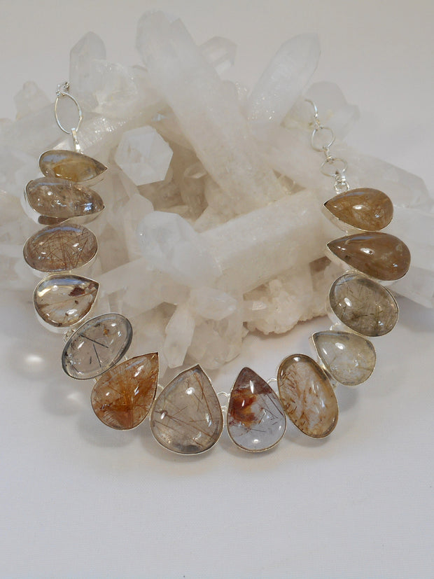 Golden Rutilated Quartz Crystal Gemstones Necklace 1