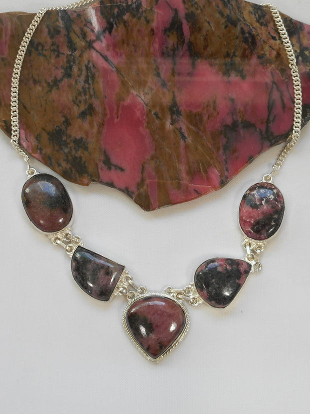 Rhodonite and Sterling Necklace 1