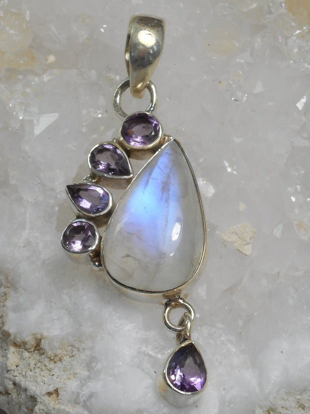 Moonstone and Amethyst Quartz Pendant 1