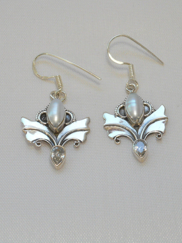 Angel Sterling and Pearl Earring Set 1 with White Topaz