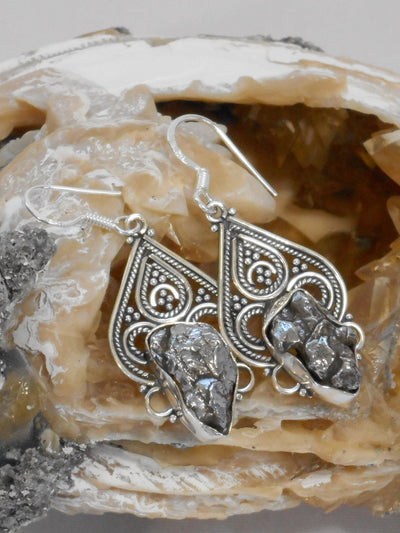 Sterling and Meteorite Earring Set 6