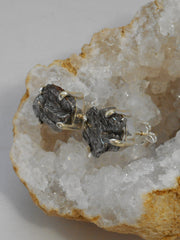 Sterling and Meteorite Earring Post Set 2 (Small)