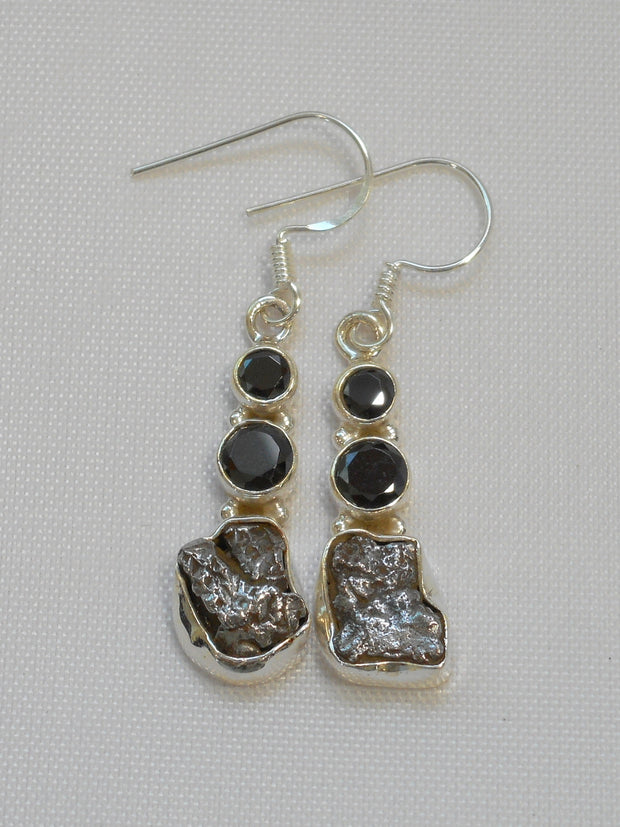 Sterling and Meteorite Earring Set 5 with Onyx