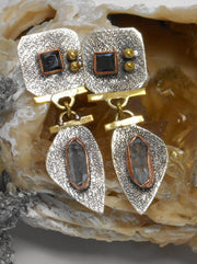 Herkimer Diamond and Sterling Earring Set 2 with Onyx