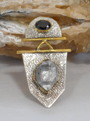 Herkimer Diamond Quartz Crystal and Sterling Pendant 1 with Onyx