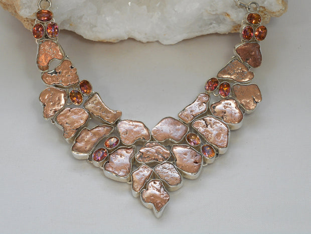*Native Copper Nugget and Apricot Citrine Quartz Necklace 1