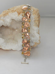 Native Copper and Citrine Quartz Bracelet