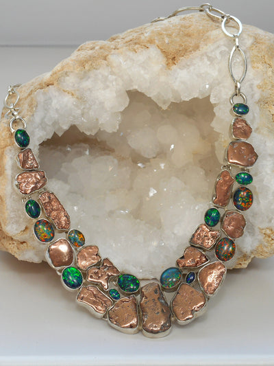 Native Copper and Fire Opal Gemstones Necklace 3