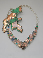 Native Copper and Fire Opal Gemstones Necklace 2