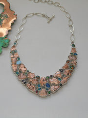 Native Copper and Fire Opal Gemstones Necklace 1